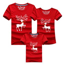 Ropa De Bebé A Juego Papá Baratos-Nuevo 2017 Christmas Elk Family Matching Outfits T-shirt The Parent-Child Attire Ropa familiar Mom Dad Baby manga corta Camisetas