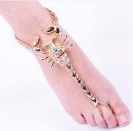 Unique Ankle Bracelet Chains NZ - Punk Scorpion Women Anklets Unique Foot Chain Gold Tone Rhinestone Decorated Beach Barefoot Sandals Ankle Bracelets