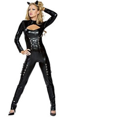catwoman woman costume UK - Sexy Catwoman New Faux Leather Pole Dance Bodycon Lace Up Jumpsuit Nightclub Catsuit Clubwear Halloween Cosplay Party Costumes