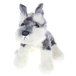 25Cm Gray Simulation Schnauzer Dog Plush Stuffed Doll Toy Collectible Soft Plush Toy Kids Birthday Gift Toy