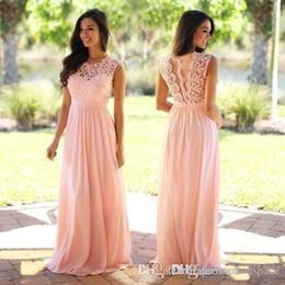 Elegante Coral Mint Vestidos de dama de encaje Apliques de boda Vestido de invitados Sheer Volver Cremallera Cremallera Tren Chiffon Barato Vestido formal 2019