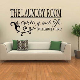 For The Laundry Room One Load At A Time Wall Sticker Decal Removable Home  Decor Bedroom Sitting Room Vinyl Decal Diy Discount Laundry Room Vinyl Wall  Art Part 72