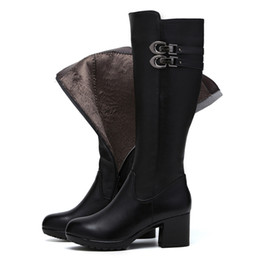 $enCountryForm.capitalKeyWord UK - Most popular 2019 new fashion shoes winter cotton snow boots head layer leather boots Thick heels women shoes high boots