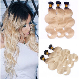 ombre human hair wefts NZ - Blonde Ombre Brazilian Human Hair Wefts Body Wave 3Pcs Virgin Hair Weaves Extensions Two Tone 1B 613 Ombre Human Hair Bundles Deals