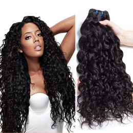 Discount light curly hair - Unprocessed Brazilian Human Remy Virgin Hair Natural Wave Hair Weaves Hair Extensions Natural Color 100g bundle Double W