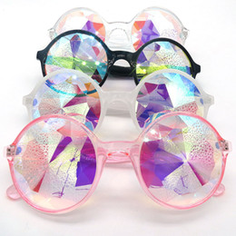 celebrity sunglasses wholesale UK - 4 color Fashion Round Kaleidoscope Sunglasses Men Women Celebrity Party Designer Eyewear Colorful Kaleidoscope Glasses TY0012