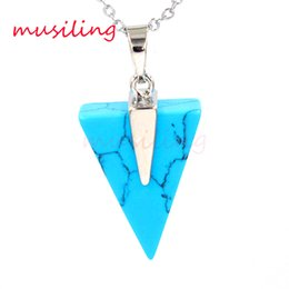$enCountryForm.capitalKeyWord Australia - Crystal Triangle Pendants Necklace Chain Gem Stone Pendulum Jewelry Silver Plated Charms Malachite Amethyst etc Fashion Accessories Jewelry