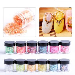 Barato Cores Acrílicas Para Unhas-12 Box Nail Shellfish New Style 12 cores acrílico Nail Art Glitter Shiny Mix Shell Mylar Ice Hot Paper Sets