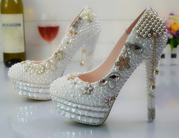 floral bridal shoes Canada - Wholesale Gold Tassel Flower Cinderella Shoes Prom Evening High Heels Beading Rhinestones Hand-made Bridal Bridesmaid Wedding Shoes