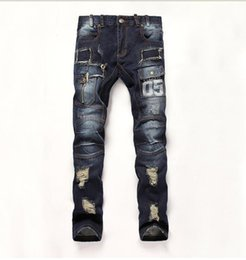 Jogger Jeans Ripped Mens Canada - Hot Sell Mens Ripped Jeans 100% Cotton Brand Designer Denim Joggers For Men Distressed Jeans Pants With Holes Size 28-38 Q1559