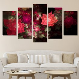 Chinese  5 Pcs Set Framed HD Printed Flower Blooming Wall Art Poster Pictures Room Decoration Still Life Modern Canvas Oil Painting manufacturers