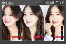 Skin Lipstick Canada - Wholesale-April Skin Magic Honey Long Lasting Lip Gloss Set Matte Lipstick Tint (6ml) Grapefruit Lip Stick By Korean Cosmetics 101 201 301