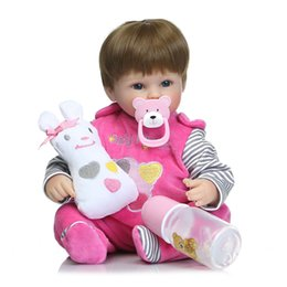 Lovely Doll Silicone Canada - realistic lifelike reborn lovely bebe reborn baby rooted fiber hair playing toys for kids birthday Gift