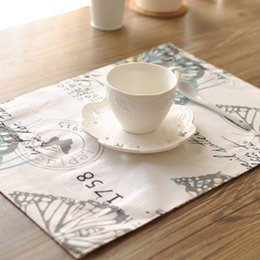discount table linen fabric wholesale fashion american country print butterfly double thickening fabric table mat placemat