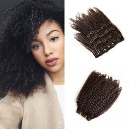 Discount clip extensions for black women - Clip In Hair Extensions 120G 7pcs set Kinky Curly Natural Color Burmese Virgin Human Hair Extensions For Black Women Lau