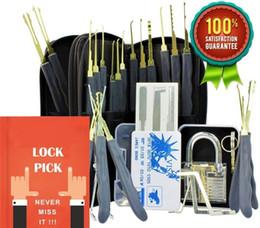 24 Piece GOSO Lock Picking Tool Set LockSmith Practice Lock Pick Tool Set with Transparent Padlock Credit Card Lock Pick Set on Sale