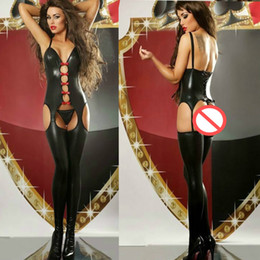 Catsuit Rouge Brillant Pas Cher-Women Black Shiny Wet Look Lingerie Crotchless Babydoll Night Party Clubwear Suspender Style Bodystocking Avec Red Bow