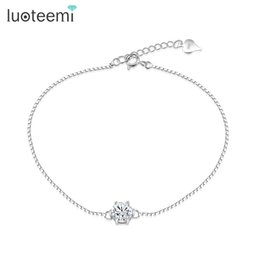 925 silver box link chains NZ - LUOTEEMI New Arrival 925 Sterling Silver Six Claw Pendant Charms Bracelet with Box Chain Women Fashion Bangle Jewelry Jewelry