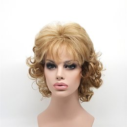 Chinese  XT638 Short Curly Blonde Wigs For White Black Women 12 Inch Synthetic Hair Pelucas Sinteticas Perruque Peruca Pruiken Peruk Factory Sales manufacturers