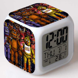 $enCountryForm.capitalKeyWord Australia - New Cartoon Five Nights at Freddy Alarm Clocks LED Glowing 7 Colors Change Digital Clock Thermometer Colorful Table Clock Kids Bedroom Gifts