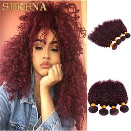 best burgundy hair color 2019 - Best Quality Peruvian Deep Curly Wave Hair Burgundy Weaves 99j Peruvian Virgin Remy Human Hair Extensions Peruvian Kinky