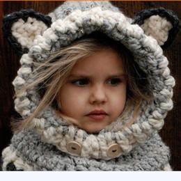 21016db47 El superventas caliente invierno coreano caliente abrigo del cuello Fox  bufanda Caps Cute niños lana sombreros tejidos Baby Girls mantones con  capucha ...
