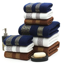 Luxury beach toweLs online shopping - 100 Cotton Embroidered Towel Sets Beach Bath Towels for Adults Luxury High Quality Soft Face Towels set set