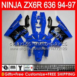 $enCountryForm.capitalKeyWord NZ - 8Gifts 23Colors For KAWASAKI NINJA ZX636 ZX6R 94 95 96 97 ZX 636 ZX 6R 33NO56 blue west 600CC ZX-636 ZX-6R 1994 1995 1996 1997 Fairing kit