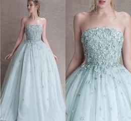 Discount strapless corset coral prom dress - 2018 Modest Princess Sage Quinceanera Dresses Appliques Tulle Corset Lace Up Prom Dresses Sweet 16 Dresses