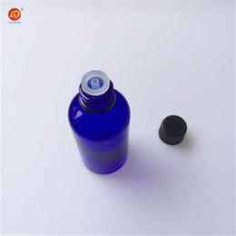 $enCountryForm.capitalKeyWord NZ - Wholesale 50ml Blue Glass Liquid Bottles with Black Cap Sealing up Packing Liquid Skin Care Cream Bottles Jars 12pcs lot