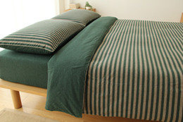 navy bedding sets Canada - fitted sheet and bed sheet hometextile bedding set kintted fabric stripe with solid color designs simple decration