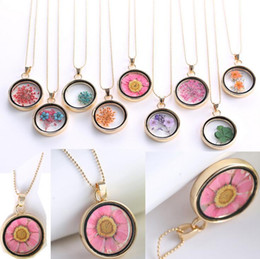 Wholesale Clover Necklace Plant Dried Flower Crystal Pendant WFN060 with chain mix order pieces a
