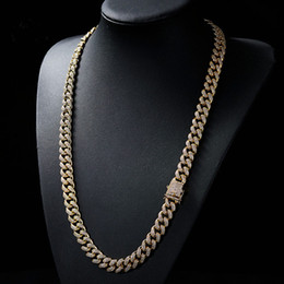 triple chains Canada - 18K Real Gold Plated Men Large Cuban Chain Full Bling Cubic Zirconia Necklace Top Quality Hiphop Triple Lock Necklaces Copper Jewelry 28inch