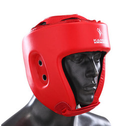 Protector kick boxing online shopping - Mma Helmet Professional Head Gear Kick Boxing Karate Head Guards Fitness Supplies Male Face Protectors Headgear Sparring Helmet Fighting