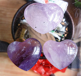 crystals souvenir Canada - Drop Shipping wholesale Natural amethyst crystal heart purple quartz crystal heart healing for gift 3 pcs