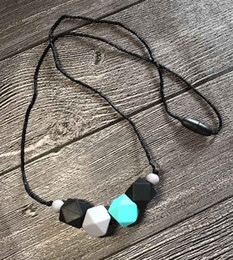 $enCountryForm.capitalKeyWord Canada - Silicone Teething Necklace Geometric Bead Hexagon Chewable Teether Beads in Turquoise Black Grey Nursing Necklace for Baby Shower Gift