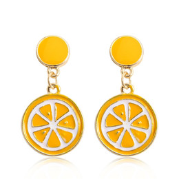 orange apple fruit UK - 2017 fashion cartoon cute fruit drop earrings watermelon strawberry apple orange lemon banana kiwi summer series earrings for women jewelry