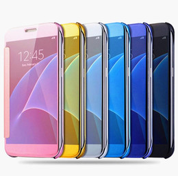 Samsung S6 Edge Mirror Case Australia - For Samsung S8 Plating Mirror Leather Case Clear Window View Chrome Flip Electroplate Phone Case Cover for Galaxy S7 S6 edge