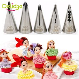 cupcake piping set Canada - Delidge 6 pcs Set Doll Shape Cake Nozzle Stainless Steel Cake Decoration Nozzle Flower Decorator Cupcake Icing Piping Nozzles