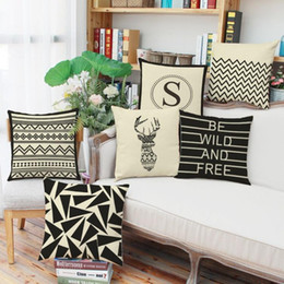 Coffee Housing Australia - 45cm Black Nordic Simple Words Cotton Linen Fabric Throw Pillowcase 18inch Fashion New Home Gift Coffee house Decoration Sofa Cushion cover