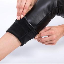 $enCountryForm.capitalKeyWord Canada - High Quality Winter Warm Women Leggings High Waist Bright Black Skinny Leggings Solid Faux Leather Pants