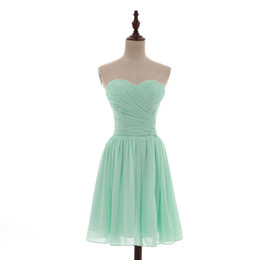 China Sweetheart Short Chiffon Beach Bridesmaid Dress Lace Up 2017 Pleated Wedding Bridesmaid Dresses Mint Green Real Photo supplier chiffon sweetheart knee length wedding dress suppliers