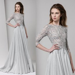 Robes De Quartier De Tony Pas Cher-Tony Ward 2017 Silver Prom Dresses avec 3/4 manches Beads Appliqué Bateau décolleté Robes de soirée Sequins Sweep Train formelle Party Dress