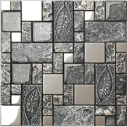 Rustic Gray Metalu0026glass Mix Resin Mosaic Tiles,stainless Steel Kitchen Wall  Tiles,Leaves Pattern Metal Mosaic Building Materials, LSRN09 Inexpensive  Gray ...