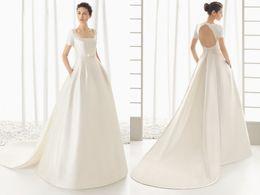 Discount watteau plus size wedding dresses - Scoop Neck Short Sleeve Wedding Count Train Watteau Cheap Satin Custom Unique Design Charming Gorgeous Fashionable Desig