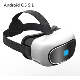 Discount virtual reality 3d video glasses Wholesale- All in one Google Cardboard virtual reality 3D video Glass Android 5.1 Quad Core 1+8G Smart WIFI TF card Blue