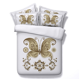 $enCountryForm.capitalKeyWord UK - White Golden Butterfly 3D Printed Bedding Sets Twin Full Queen King Size Fabric Cotton Dovet Covers Pillow Shams Comforter Fashion Design