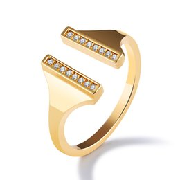 delicate rings NZ - 18KGP Gold Plated Delicate Double Bar Ring with White Cubic Zirconia US Size#7-8