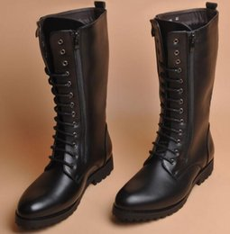8db524a434a7 Men black new lace-up combat boots casual pointed toe pu leather knee high  boots