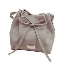5475d17c63b Wholesale- 2016 New Casual Women Messenger Bags Big Bow Design String PU  Leather Hangbags Should Bucket Bag Candy Color Free Drop Shipping